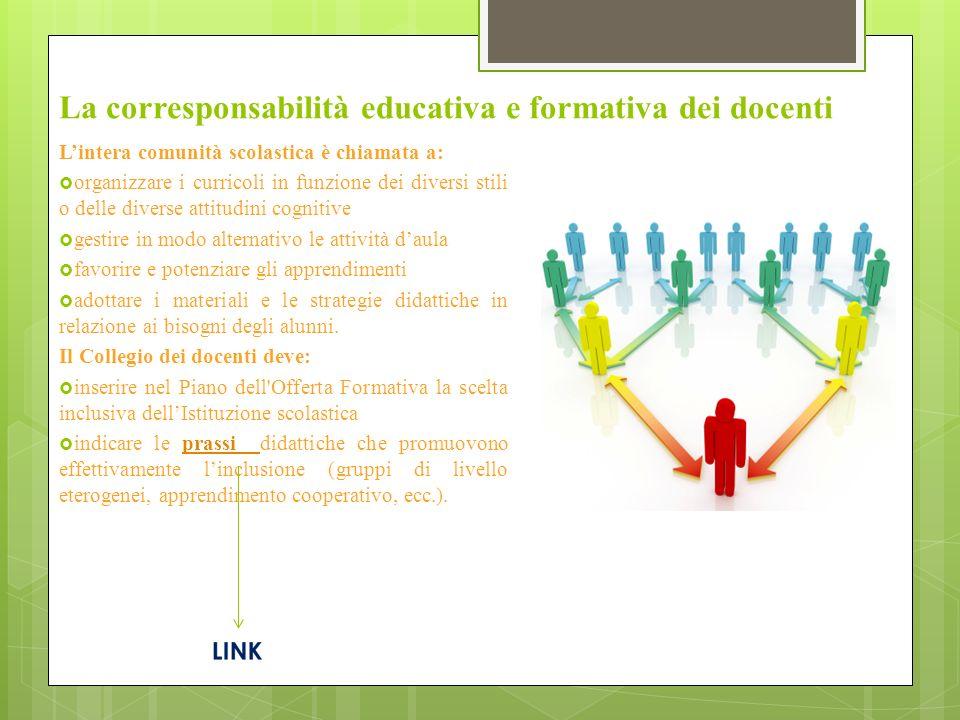 La corresponsabilità educativa e formativa dei docenti Lintera comunità scolastica è chiamata a: organizzare i curricoli in funzione dei diversi stili
