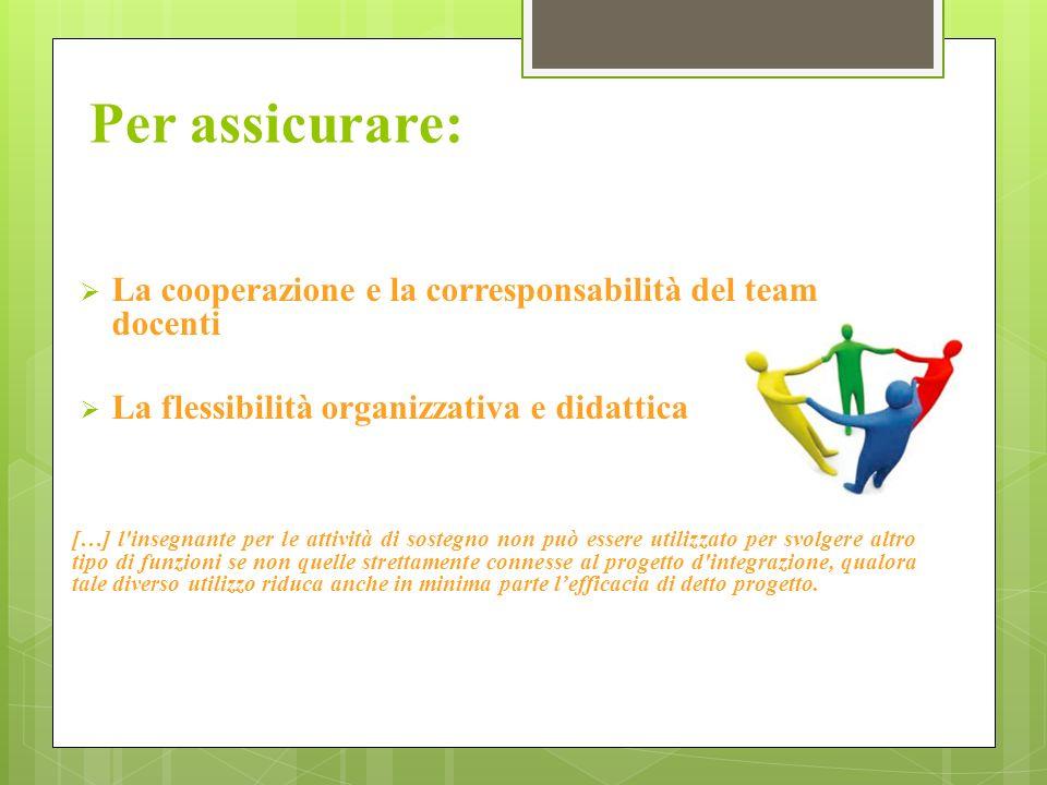 Per assicurare: La cooperazione e la corresponsabilità del team docenti La flessibilità organizzativa e didattica […] l'insegnante per le attività di