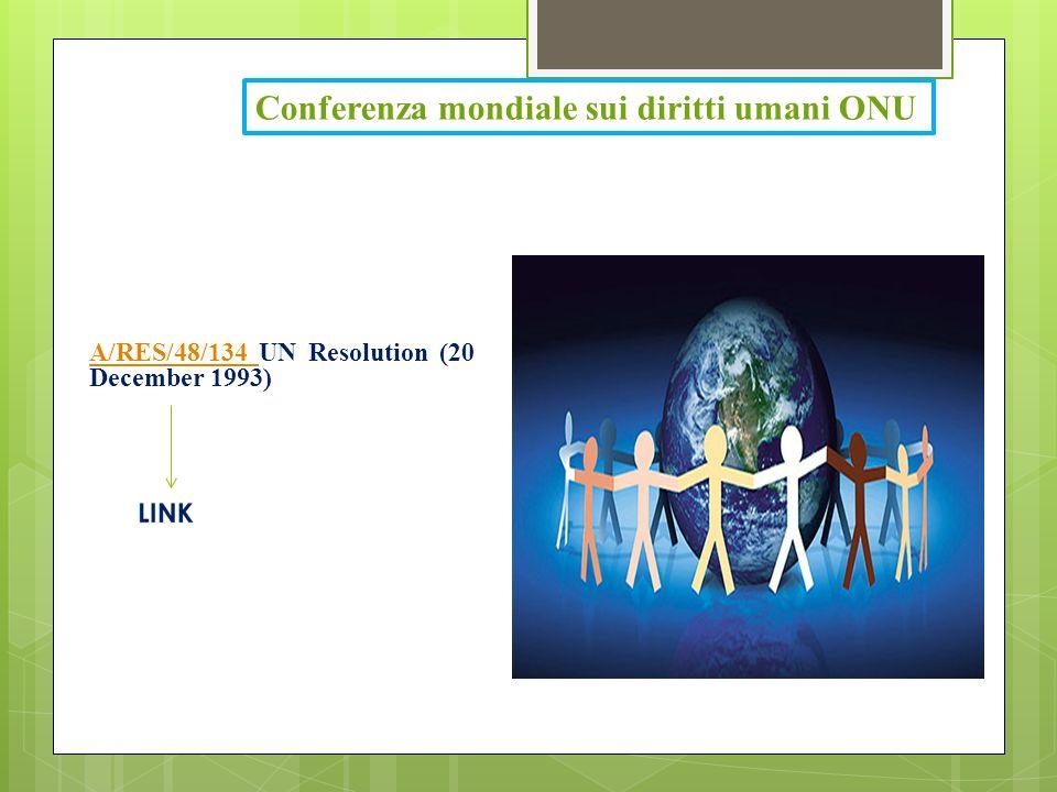 Conferenza mondiale sui diritti umani ONU A/RES/48/134 A/RES/48/134 UN Resolution (20 December 1993)