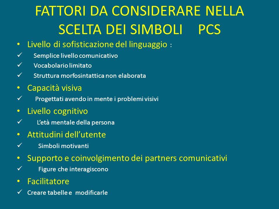 FATTORI DA CONSIDERARE NELLA SCELTA DEI SIMBOLI PCS Livello di sofisticazione del linguaggio : Semplice livello comunicativo Vocabolario limitato Stru