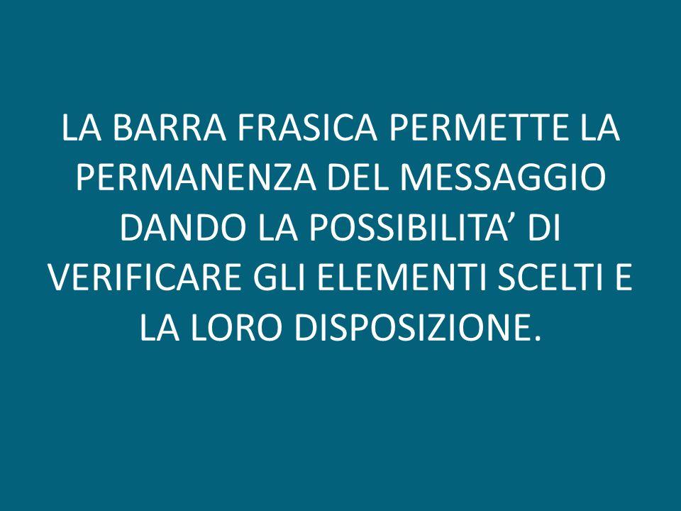 LA BARRA FRASICA PERMETTE LA PERMANENZA DEL MESSAGGIO DANDO LA POSSIBILITA DI VERIFICARE GLI ELEMENTI SCELTI E LA LORO DISPOSIZIONE.