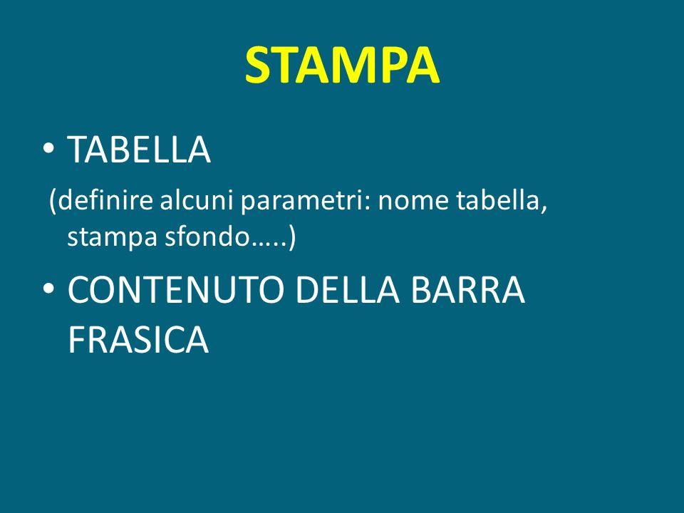 STAMPA TABELLA (definire alcuni parametri: nome tabella, stampa sfondo…..) CONTENUTO DELLA BARRA FRASICA
