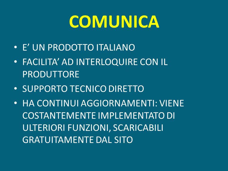 COMUNICA E UN PRODOTTO ITALIANO FACILITA AD INTERLOQUIRE CON IL PRODUTTORE SUPPORTO TECNICO DIRETTO HA CONTINUI AGGIORNAMENTI: VIENE COSTANTEMENTE IMP