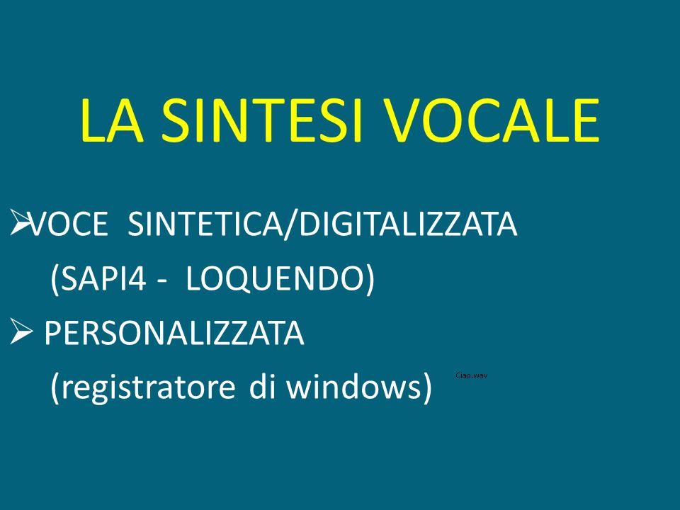 LA SINTESI VOCALE VOCE SINTETICA/DIGITALIZZATA (SAPI4 - LOQUENDO) PERSONALIZZATA (registratore di windows)