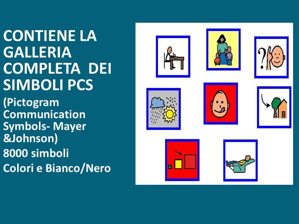 CONTIENE LA GALLERIA COMPLETA DEI SIMBOLI PCS (Pictogram Communication Symbols- Mayer &Johnson) 8000 simboli Colori e Bianco/Nero