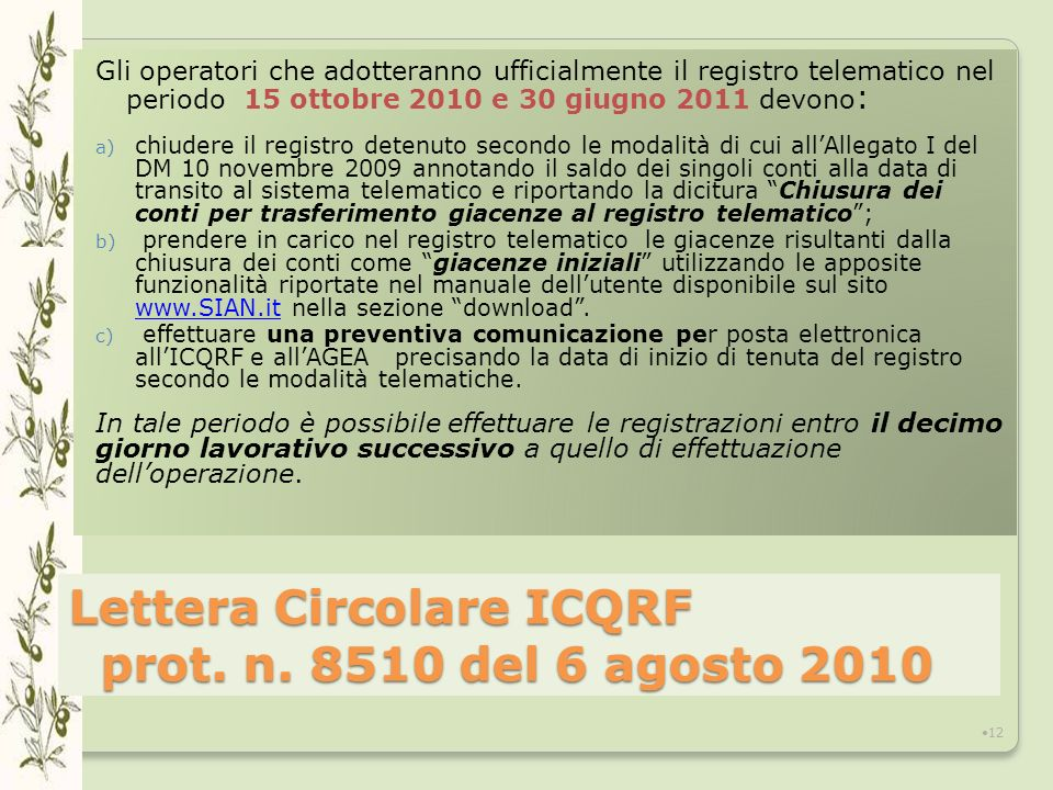 Lettera Circolare ICQRF prot.n.