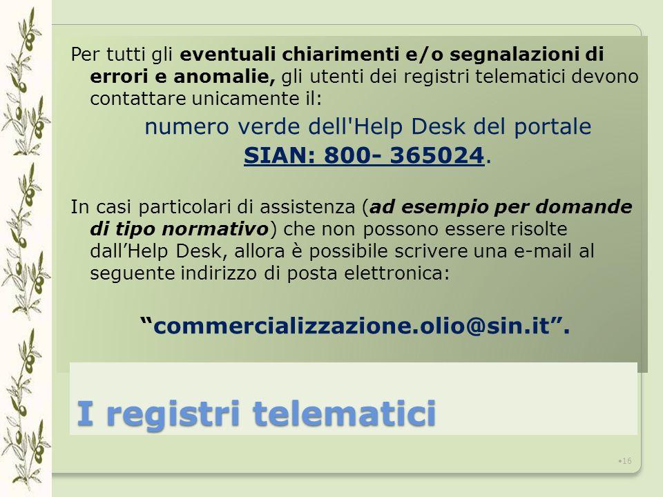 Per tutti gli eventuali chiarimenti e/o segnalazioni di errori e anomalie, gli utenti dei registri telematici devono contattare unicamente il: numero verde dell Help Desk del portale SIAN: 800- 365024.