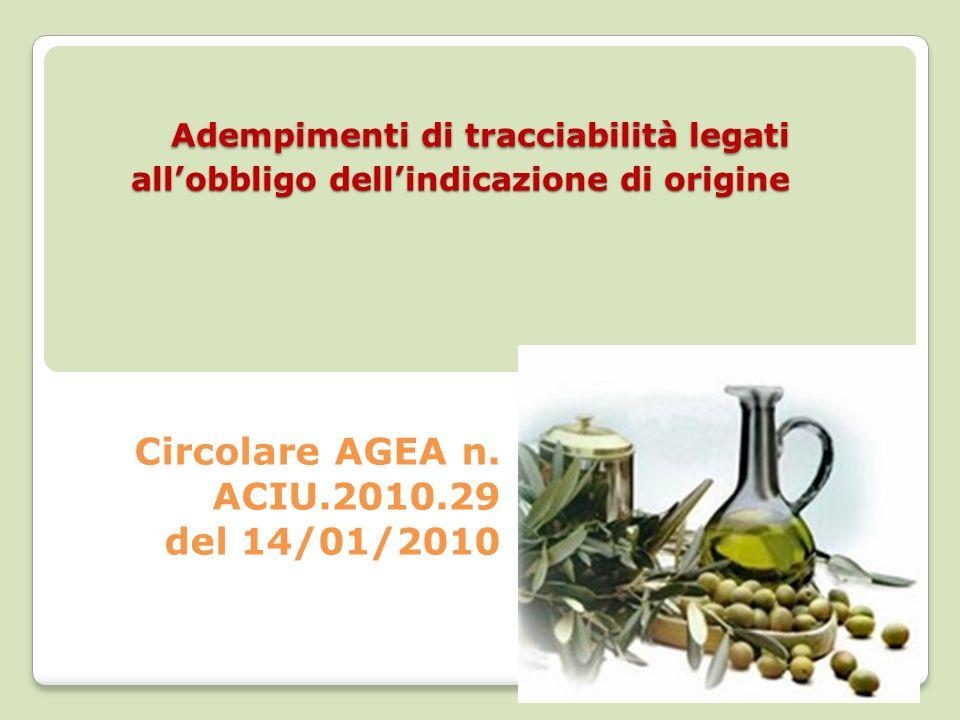 Adempimenti di tracciabilità legati allobbligo dellindicazione di origine Adempimenti di tracciabilità legati allobbligo dellindicazione di origine Circolare AGEA n.