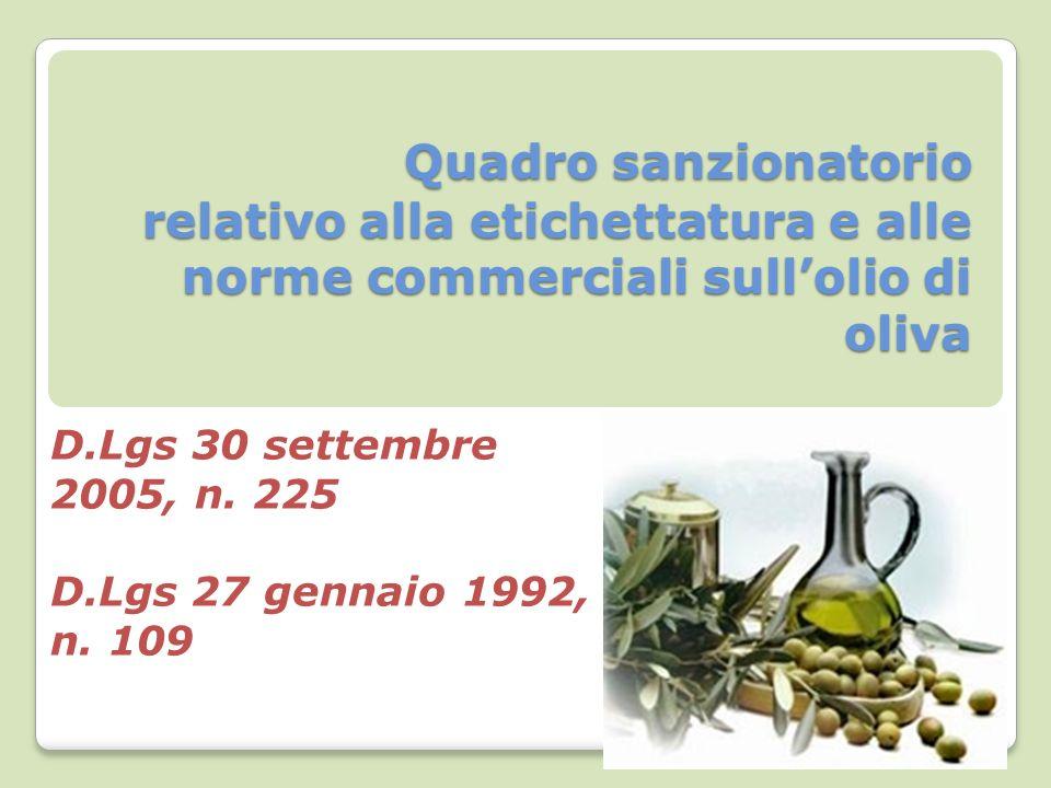 Quadro sanzionatorio relativo alla etichettatura e alle norme commerciali sullolio di oliva Quadro sanzionatorio relativo alla etichettatura e alle norme commerciali sullolio di oliva D.Lgs 30 settembre 2005, n.