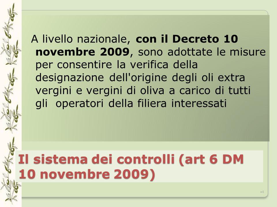 Il sistema dei controlli (art 6 DM 10 novembre 2009) A livello nazionale, con il Decreto 10 novembre 2009, sono adottate le misure per consentire la verifica della designazione dell origine degli oli extra vergini e vergini di oliva a carico di tutti gli operatori della filiera interessati 4