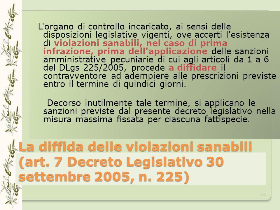 La diffida delle violazioni sanabili (art.7 Decreto Legislativo 30 settembre 2005, n.