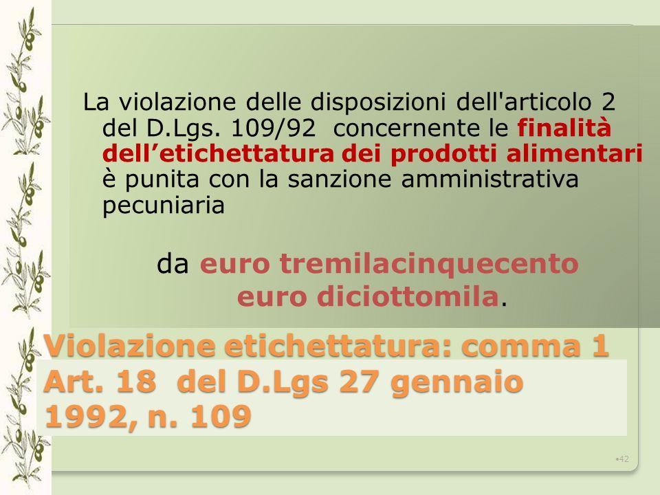 Violazione etichettatura: comma 1 Art.18 del D.Lgs 27 gennaio 1992, n.