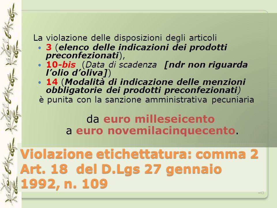 Violazione etichettatura: comma 2 Art.18 del D.Lgs 27 gennaio 1992, n.