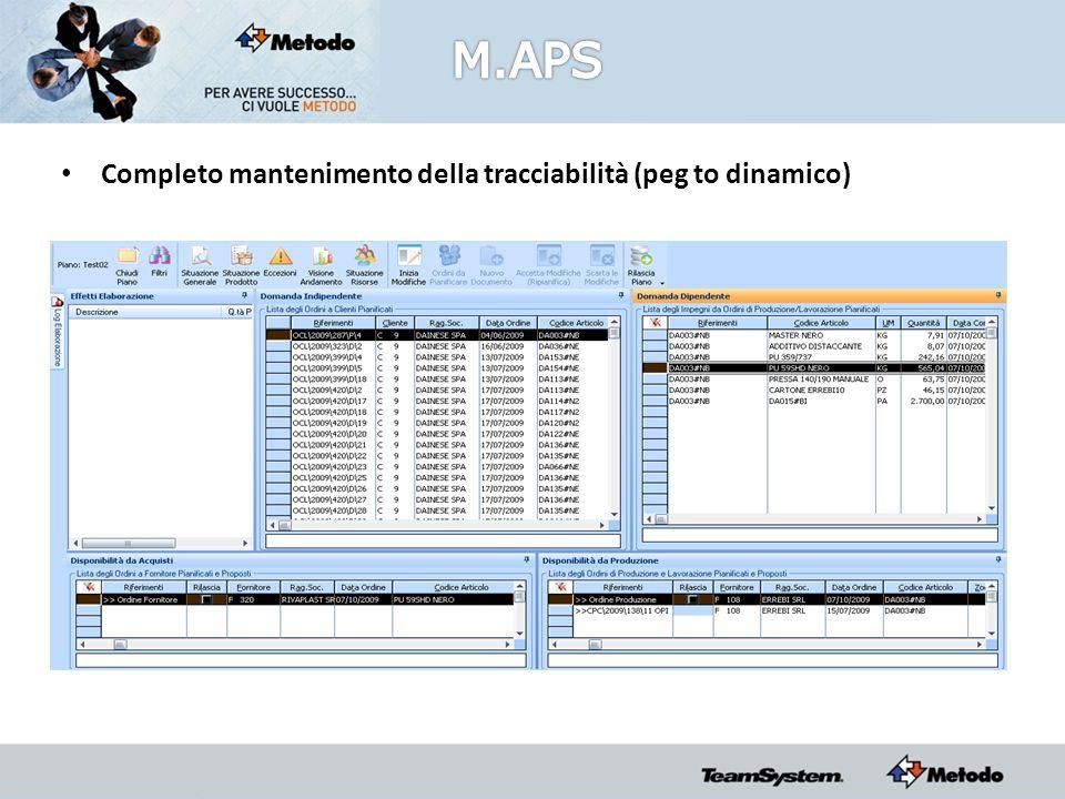 Completo mantenimento della tracciabilità (peg to dinamico)