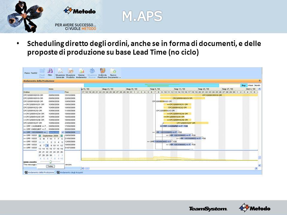 Scheduling diretto degli ordini, anche se in forma di documenti, e delle proposte di produzione su base Lead Time (no ciclo)