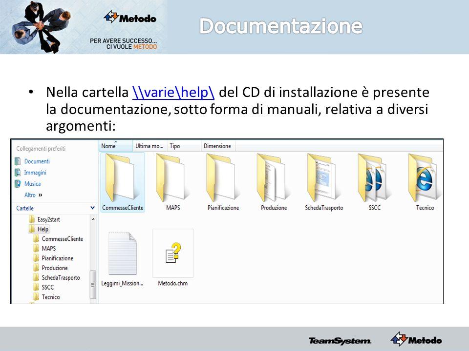 Nella cartella \\varie\help\ del CD di installazione è presente la documentazione, sotto forma di manuali, relativa a diversi argomenti:\\varie\help\