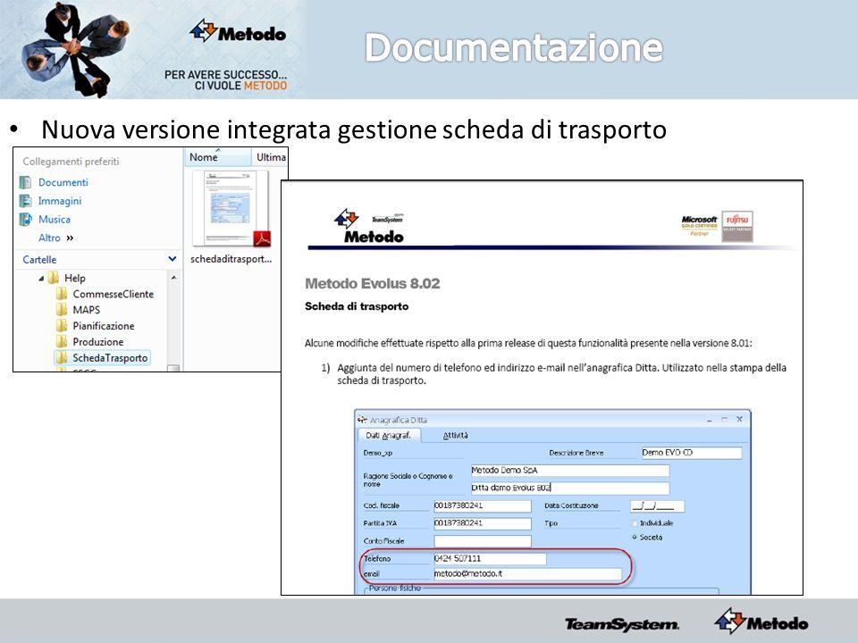 Nuova versione integrata gestione scheda di trasporto