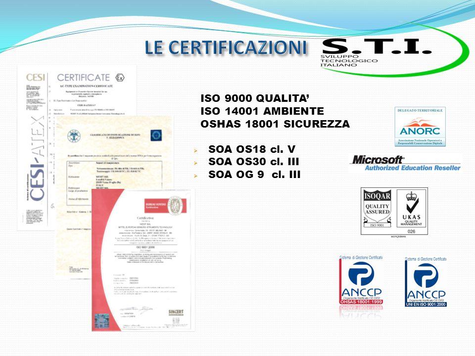 ISO 9000 QUALITA ISO 14001 AMBIENTE OSHAS 18001 SICUREZZA SOA OS18 cl.