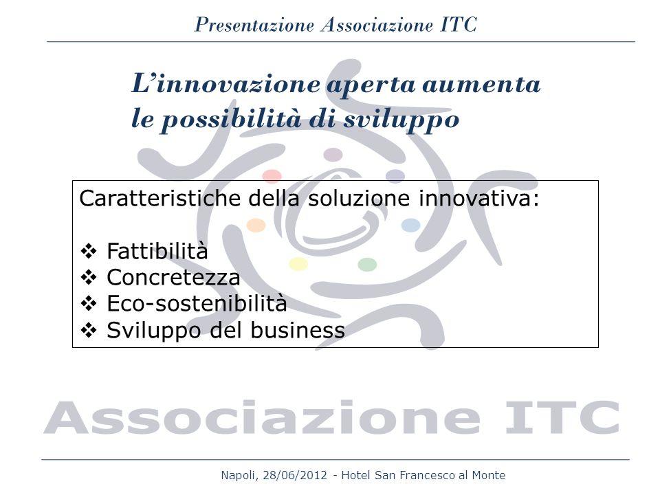Napoli, 28/06/2012 - Hotel San Francesco al Monte Presentazione Associazione ITC Caratteristiche della soluzione innovativa: Fattibilità Concretezza E