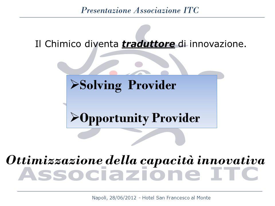 Napoli, 28/06/2012 - Hotel San Francesco al Monte Presentazione Associazione ITC Il Chimico diventa traduttore di innovazione. Solving Provider Opport