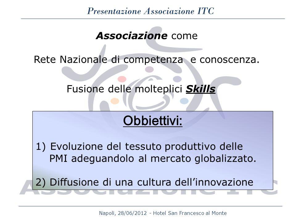 Napoli, 28/06/2012 - Hotel San Francesco al Monte Presentazione Associazione ITC Associazione come Rete Nazionale di competenza e conoscenza. Fusione