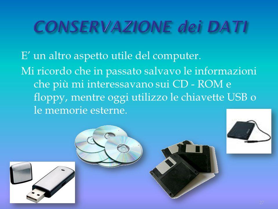 E un altro aspetto utile del computer. Mi ricordo che in passato salvavo le informazioni che più mi interessavano sui CD - ROM e floppy, mentre oggi u