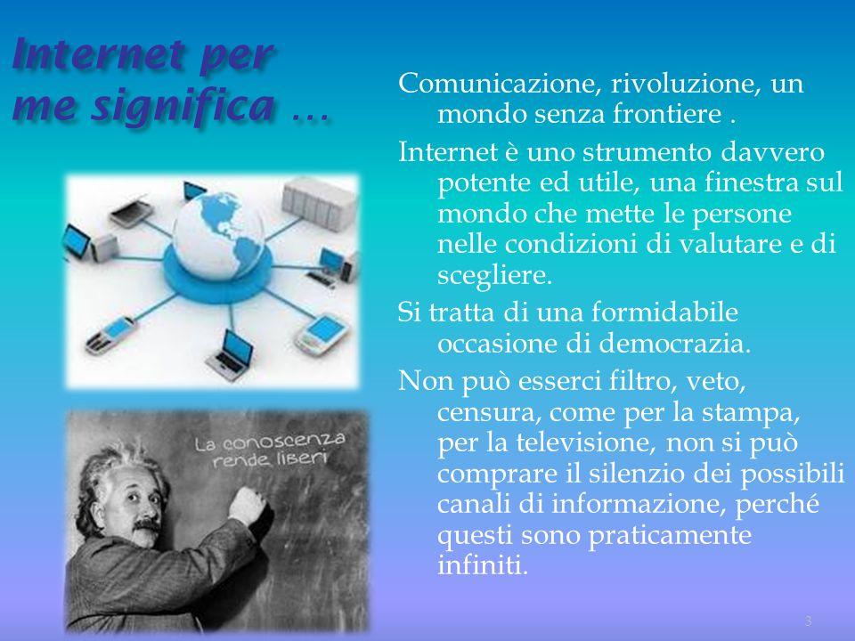Internet per me significa … Comunicazione, rivoluzione, un mondo senza frontiere. Internet è uno strumento davvero potente ed utile, una finestra sul