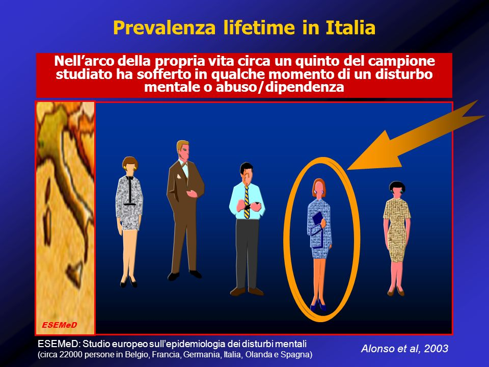 Prevalenza lifetime in Italia Alonso et al, 2003 Nellarco della propria vita circa un quinto del campione studiato ha sofferto in qualche momento di u