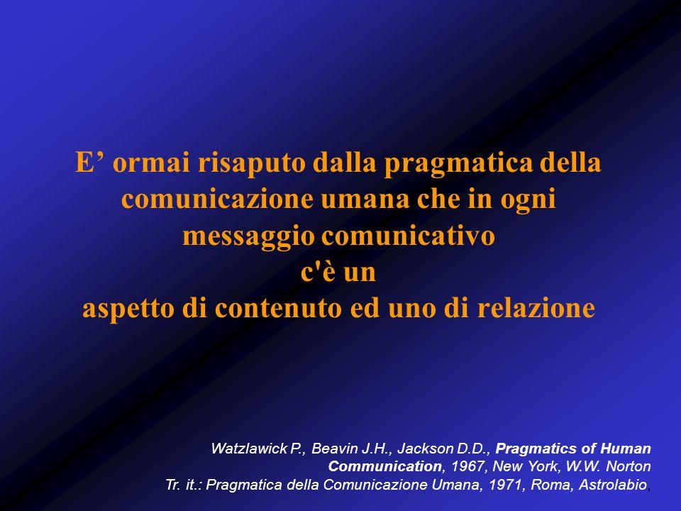 E ormai risaputo dalla pragmatica della comunicazione umana che in ogni messaggio comunicativo c'è un aspetto di contenuto ed uno di relazione Watzlaw