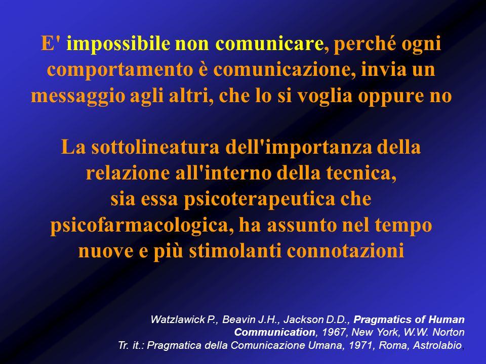 E' impossibile non comunicare, perché ogni comportamento è comunicazione, invia un messaggio agli altri, che lo si voglia oppure no La sottolineatura