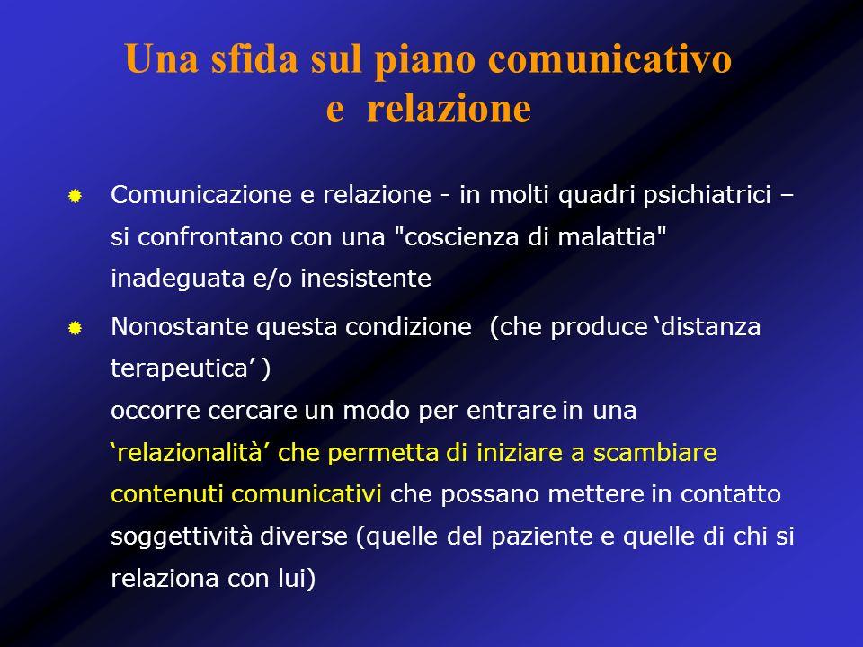 Una sfida sul piano comunicativo e relazione Comunicazione e relazione - in molti quadri psichiatrici – si confrontano con una