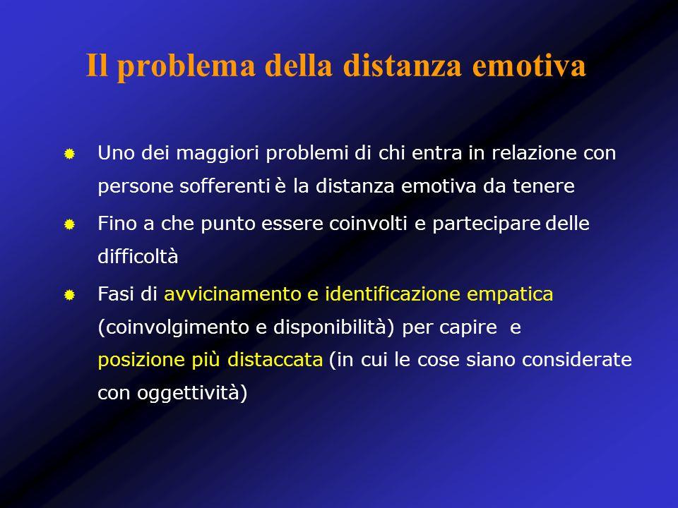 Il problema della distanza emotiva Uno dei maggiori problemi di chi entra in relazione con persone sofferenti è la distanza emotiva da tenere Fino a c