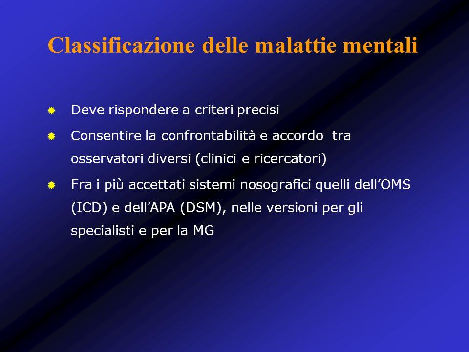 Classificazione delle malattie mentali Deve rispondere a criteri precisi Consentire la confrontabilità e accordo tra osservatori diversi (clinici e ri