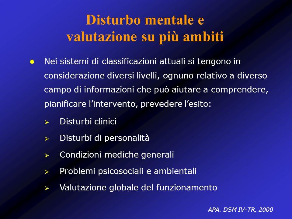 Disturbo mentale e valutazione su più ambiti Nei sistemi di classificazioni attuali si tengono in considerazione diversi livelli, ognuno relativo a di