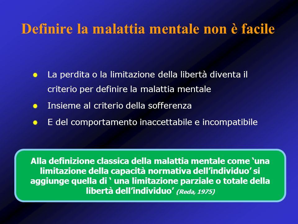 Definire la malattia mentale non è facile La perdita o la limitazione della libertà diventa il criterio per definire la malattia mentale Insieme al cr