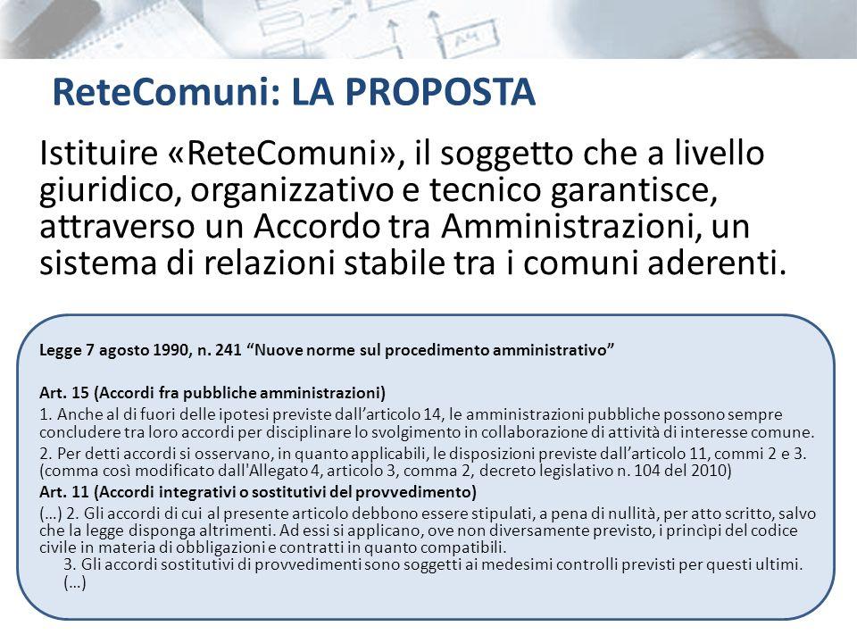Istituire «ReteComuni», il soggetto che a livello giuridico, organizzativo e tecnico garantisce, attraverso un Accordo tra Amministrazioni, un sistema di relazioni stabile tra i comuni aderenti.