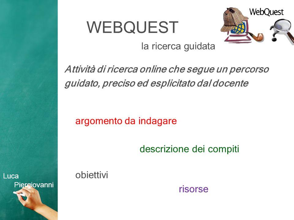 WEBQUEST Attività di ricerca online che segue un percorso guidato, preciso ed esplicitato dal docente argomento da indagare descrizione dei compiti obiettivi risorse la ricerca guidata Luca Piergiovanni