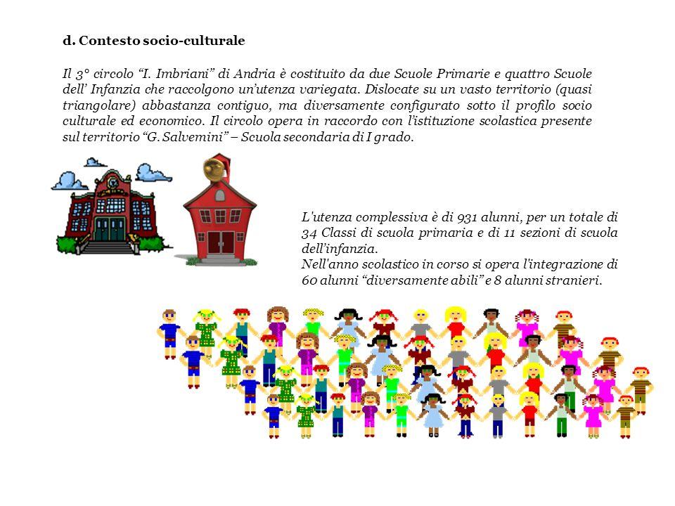 d. Contesto socio-culturale Il 3° circolo I. Imbriani di Andria è costituito da due Scuole Primarie e quattro Scuole dell Infanzia che raccolgono unut