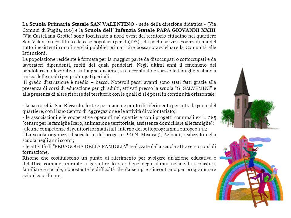 La Scuola Primaria Statale SAN VALENTINO - sede della direzione didattica - (Via Comuni di Puglia, 100) e la Scuola dell Infanzia Statale PAPA GIOVANN