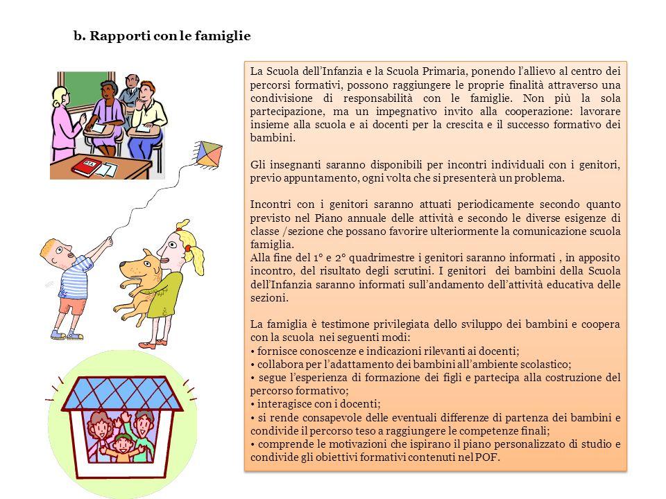 b. Rapporti con le famiglie La Scuola dellInfanzia e la Scuola Primaria, ponendo lallievo al centro dei percorsi formativi, possono raggiungere le pro