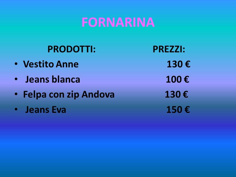 FORNARINA PRODOTTI: PREZZI: Vestito Anne 130 Jeans blanca 100 Felpa con zip Andova 130 Jeans Eva 150
