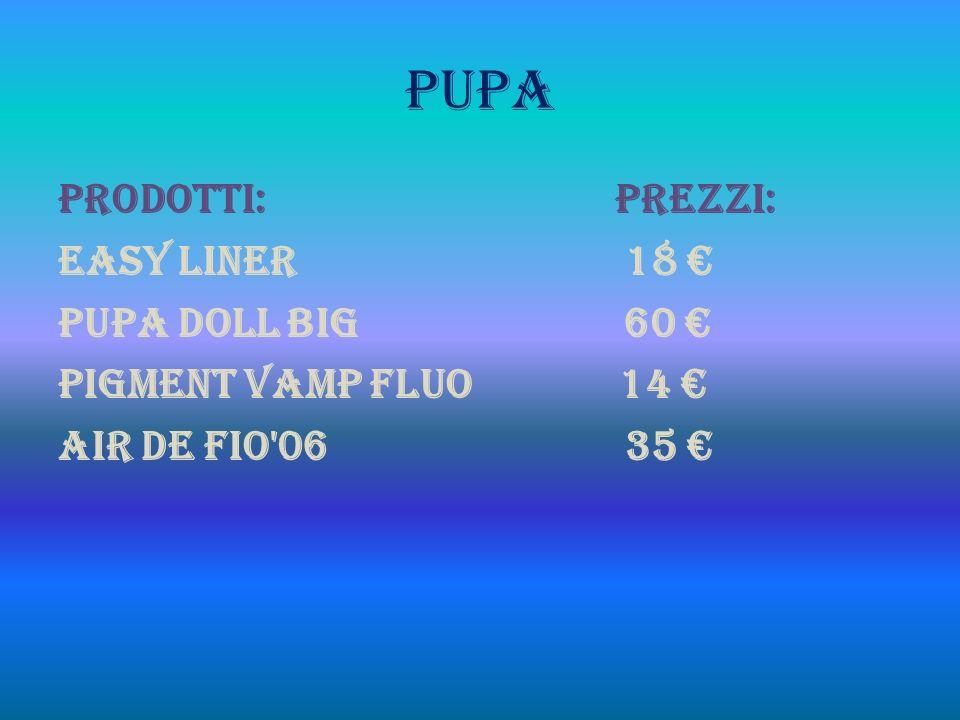 PUPA PRODOTTI: PREZZI: Easy liner 18 Pupa doll big 60 Pigment vamp fluo 14 Air de fio 06 35