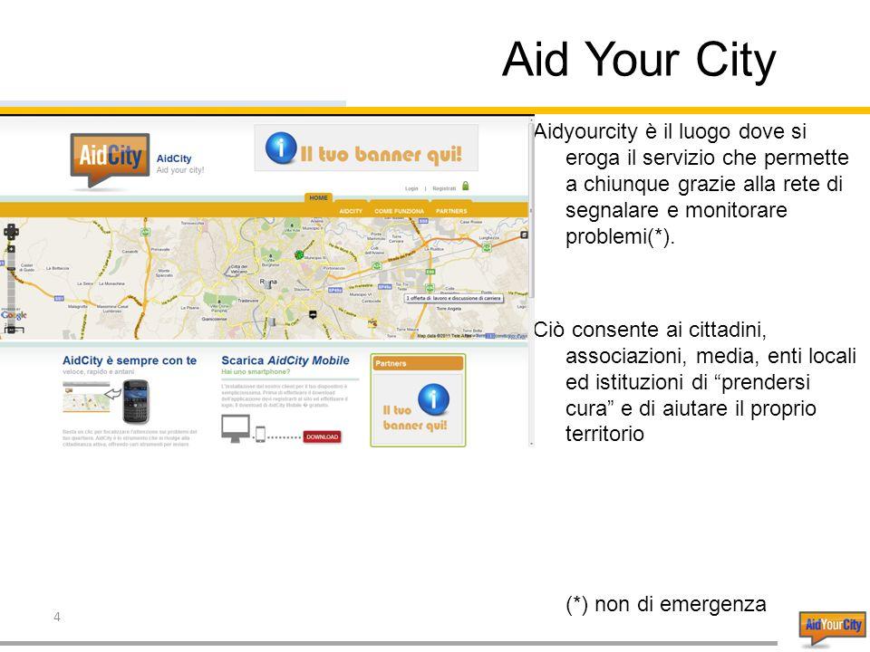 4 Aid Your City Aidyourcity è il luogo dove si eroga il servizio che permette a chiunque grazie alla rete di segnalare e monitorare problemi(*).