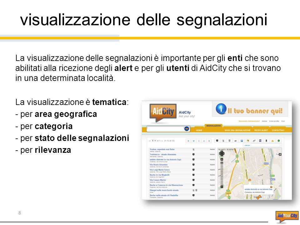 8 visualizzazione delle segnalazioni La visualizzazione delle segnalazioni è importante per gli enti che sono abilitati alla ricezione degli alert e per gli utenti di AidCity che si trovano in una determinata località.