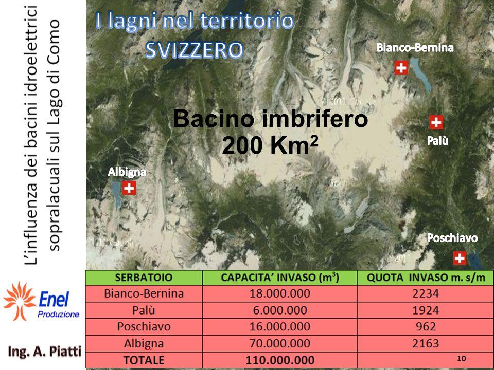 I laghi individuati del territorio SVIZZERO Bacino imbrifero 200 Km 2 10