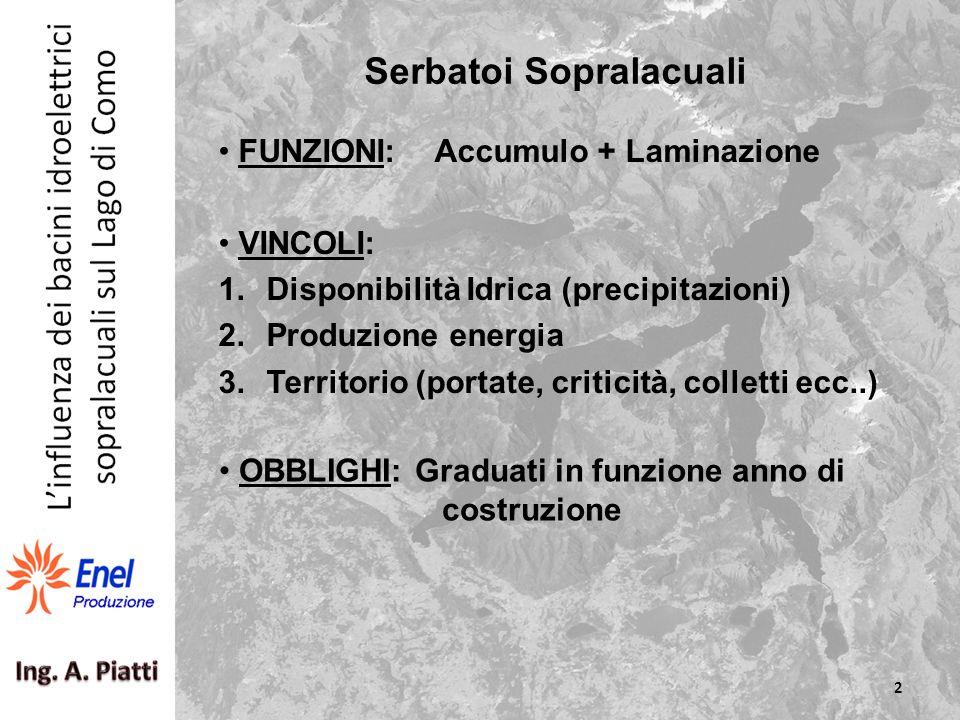 FUNZIONI: Accumulo + Laminazione VINCOLI: 1.Disponibilità Idrica (precipitazioni) 2.Produzione energia 3.Territorio (portate, criticità, colletti ecc.