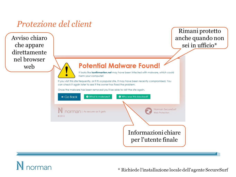 Protezione del client Avviso chiaro che appare direttamente nel browser web Rimani protetto anche quando non sei in ufficio* * Richiede l installazione locale dell agente SecureSurf Informazioni chiare per l utente finale
