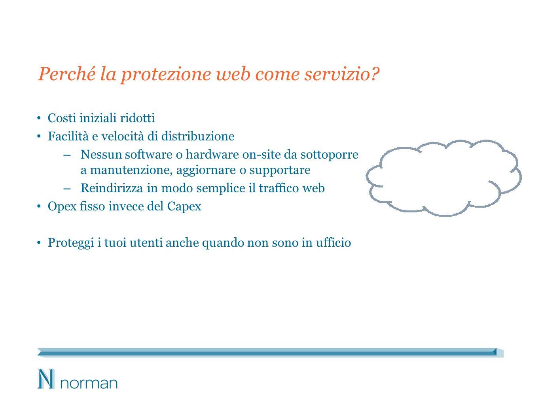Perché la protezione web come servizio? Costi iniziali ridotti Facilità e velocità di distribuzione – Nessun software o hardware on-site da sottoporre