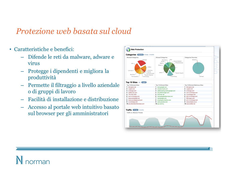 Protezione web basata sul cloud Caratteristiche e benefici: – Difende le reti da malware, adware e virus – Protegge i dipendenti e migliora la produtt