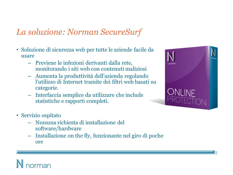 La soluzione: Norman SecureSurf Soluzione di sicurezza web per tutte le aziende facile da usare – Previene le infezioni derivanti dalla rete, monitorando i siti web con contenuti maliziosi – Aumenta la produttività dell azienda regolando l utilizzo di Internet tramite dei filtri web basati su categorie.